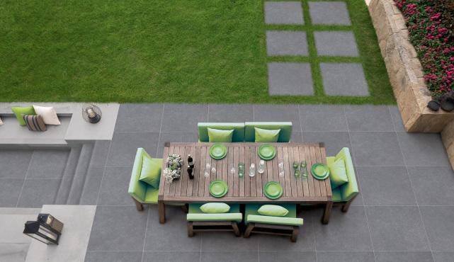 Terrassenplatten aus Feinsteinzeug 2cm, Abitare